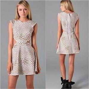 Pencey Leopard Print Denim Fray Cutout Dress